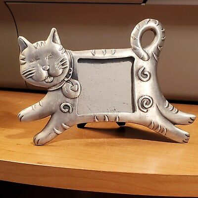 Cat Photo Picture Frame Pewter
