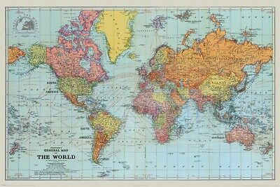 Stanfords General Map Of The World OLD VINTAGE 1922  84 CM x 119 CM