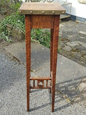 An Elegant & Stylish Arts and Crafts Antique Oak Brass Bound Tall Plant Stand