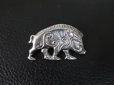 Celtic Boar Stud-back Brooch in Fine Pewter