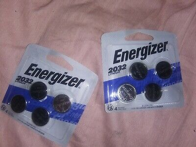 2 Four Packs Energizer 2032BP Lithium Watch/Coin type Batteries, NEW