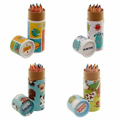 12 Pencils For Your Colouring Book - Tube Case Set Design Mindful Travel Gift