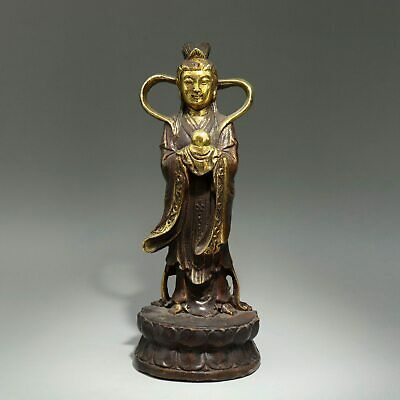Collectable China Old Red Copper & Gilding Hand-Carved Buddhism Luck Statue