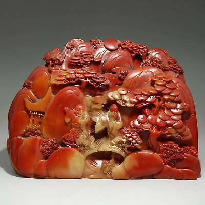 Collectable Old Shoushan Stone Hand-Carved Immortal & Scenery Bring Luck Statue
