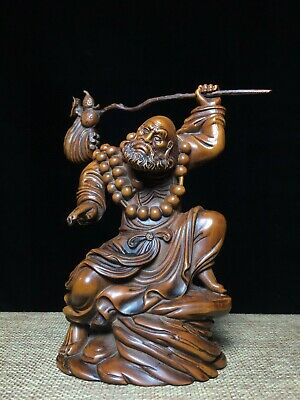 Collectable China Old Boxwood Hand-Carved Dharma Patriarch Buddhism Decor Statue