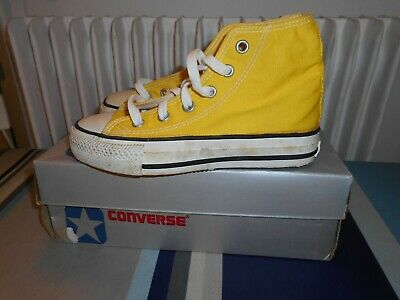 Rare Basketball All Star Converse Trainers Hi 80 Yellow Taylor Korea Kid New Vtg