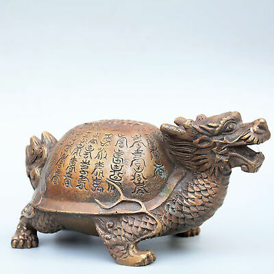 Collectable China Old Bronze Hand-Carved Myth Dragon Turtle Bring Luck Statue