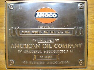 1959 AMOCO American Oil Company 24 Yr Dealer Recognition Plaque Sign Ruxton Inc