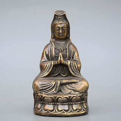 Collectable China Old Bronze Hand-Carved Buddhism Kwan-Yin Delicate Decor Statue