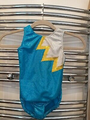 """Girls Dance Gymnastic Leotard Turquoise Blue Yellow Sparkle Size 28"""" (Age 7-8)"""