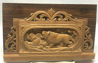 Vintage Hand Carved Wooden Plaque of Lions
