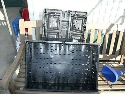 DW#  Four COLLAPSIBLE CRATES  6416-6416LL BLACK SPACE SAVERS FRUIT TOOLS CRAFTS