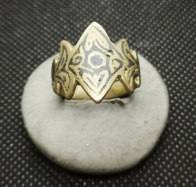 LATE MEDIEVAL SILVERED RING WITH INTAGLIO VERY RARE inner 21mm 5.94g