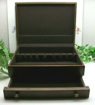 Vintage Sterling Silverplate Flatware Wooden Wood Storage Chest Case Box 16+