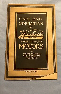 waukesha Care And Operation Manual Of High Torque Motors