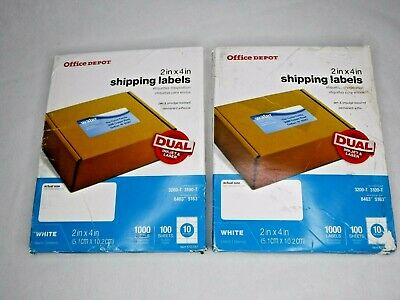 "2 Boxes Office Depot Inkjet/Laser Shipping Labels 2"" x 4"" White 1000 each NEW"
