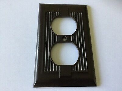 Vintage Art Deco Brown Ribbed Bakelite Outlet Cover Plate National Tool