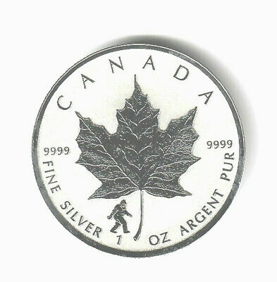 2016 CANADA 1 oz .9999 SILVER $5 MAPLE LEAF REVERSE PROOF-SASQUATCH PRIVY MARK!