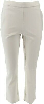 Shape FX Petite Ponte Knit Pull-On Ankle Pants White 28P NEW A272117