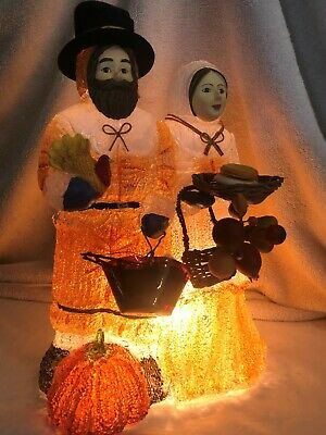 "Vintage Thanksgiving Pilgrims Spagetti Electric Table Lamp 13""H"