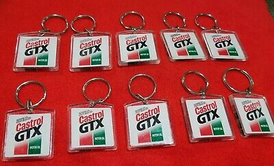 Vtg. Collection of (10) Castrol GTX Motor Oil Key Chain - NOS