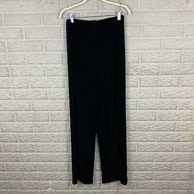 Chicos Travelers Women Slinky Knit Pants Size 1 Medium Black Elastic Pull On 30""