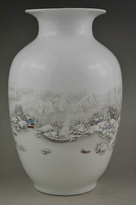 China style collectible decorate handwork old porcelain painting snow vase c01