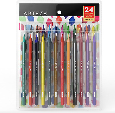 Arteza Woodless Watercolour Pencils, Set of 24, Multi Colouring Art Drawing for