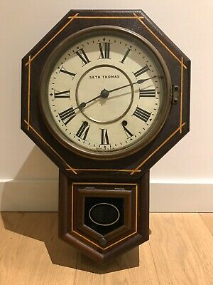 Antique Seth Thomas Wall Clock with Strike Made in USA Octagonal