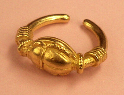 Scarab Ring in 22kt Gold on Fine Pewter