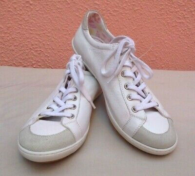 Ladies 39 White Shoes 6 Sneakers Leather Trainers Runners Lace Sekada Plimsoll