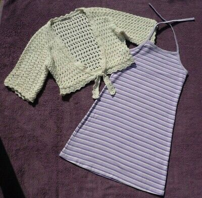 Girls Purple Striped Halterneck Summer Dress & White Crochet Cardigan Outfit 8-9