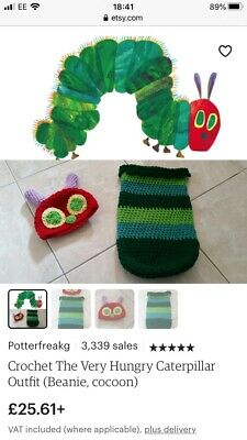 Knitted hungry caterpillar costume from Etsy
