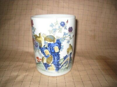 Vintage Chinese Republic Period Brush Pot With Enamel Birds And Seal Mark.