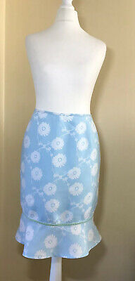 Crew Clothing Turquoise & White Floral Peplum Linen Summer Skirt Sz 14 Exc Cond