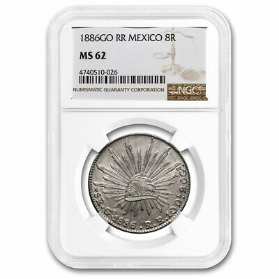 1886-Go RR Mexico Silver 8 Reales MS-62 NGC - SKU#210946