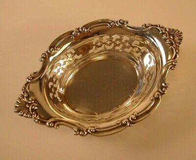 Antique Gotham STERLING SILVER A4780 Pierced Reticulated Oval Nut Bowl Dish