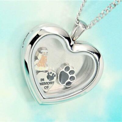 Sweet Golden Retriever Heart Memory Locket Necklace || Keepsake Jewelry for Dogs