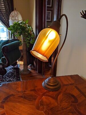 Antique French Table Lamp with Signed Art Glass Shade