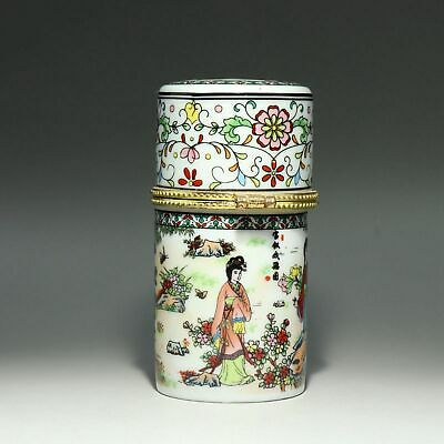 Collect China Old Porcelain Hand-Paint Fairy & Bloomy Flower Noble Toothpick Box