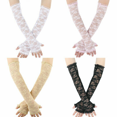 1Pair Lace Floral Long Half Finger Hollow Out Arm Elbow Glove for UV Protection