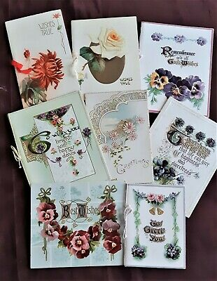 Collectable Antique1910,s 8 Xmas Greeting Cards Floral