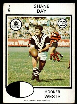 Scanlens Rugby League Trading Cards 1975-18 Shane Day Western Suburbs