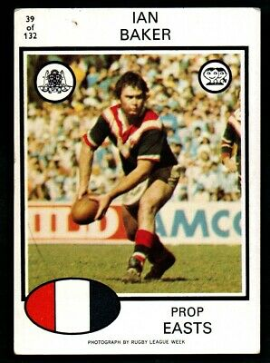 Scanlens Rugby League Trading Cards 1975-39 Ian Baker Eastern Suburbs