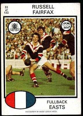 Scanlens Rugby League Trading Cards 1975-53 Russell Fairfax Eastern Suburbs