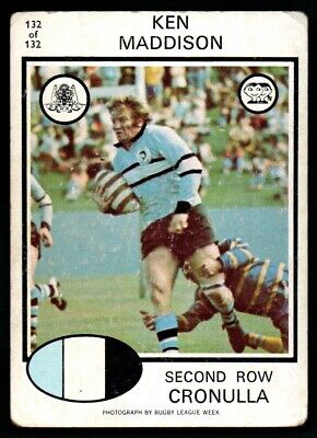 Scanlens Rugby League Trading Cards 1975-132 Ken Maddison Cronulla