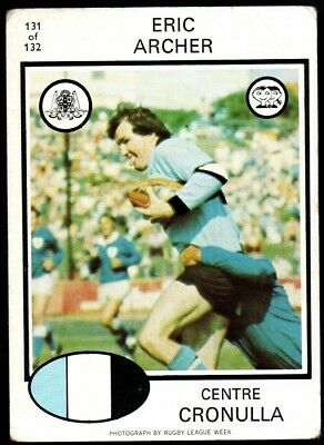 Scanlens Rugby League Trading Cards 1975-131 Eric Archer Cronulla