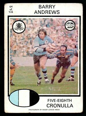 Scanlens Rugby League Trading Cards 1975-64 Barry Andrews Cronulla
