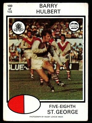 Scanlens Rugby League Trading Cards 1975-100 Barry Hulbert Saint George