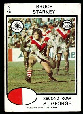 Scanlens Rugby League Trading Cards 1975-92 Bruce Starkey Saint George